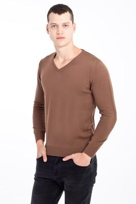 Erkek Giyim - VİZON XXL Beden V Yaka Regular Fit Triko Kazak
