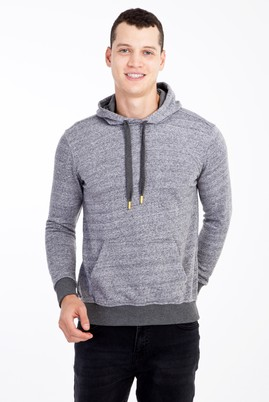 Erkek Giyim - Orta füme L Beden Kapüşonlu Slim Fit Sweatshirt