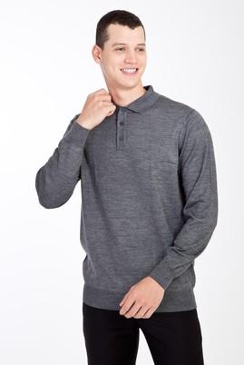Erkek Giyim - Orta füme XL Beden Polo Yaka Yünlü Triko Kazak