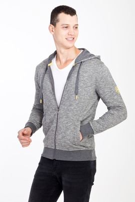 Erkek Giyim - Orta füme L Beden Kapüşonlu Fermuarlı Slim Fit Sweatshirt