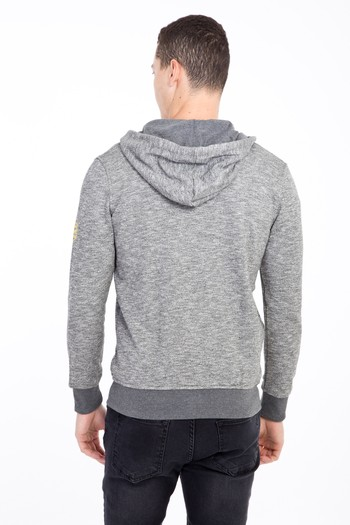Erkek Giyim - Kapüşonlu Fermuarlı Slim Fit Sweatshirt