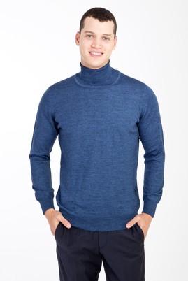 Erkek Giyim - Mavi M Beden Tam Balıkçı Yaka Yünlü Triko Kazak