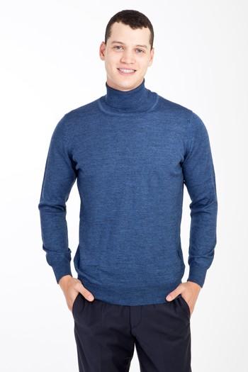 Erkek Giyim - Tam Balıkçı Yaka Yünlü Triko Kazak