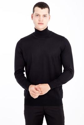 Erkek Giyim - Siyah M Beden Tam Balıkçı Yaka Yünlü Triko Kazak