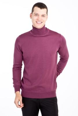 Erkek Giyim - Kırmızı XL Beden Tam Balıkçı Yaka Yünlü Triko Kazak
