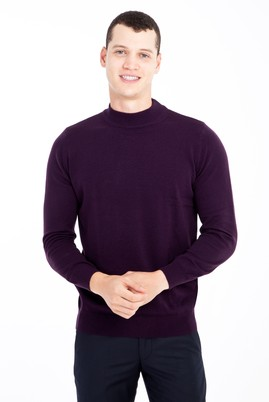Erkek Giyim - Mor XL Beden Bato Yaka Regular Fit Triko Kazak