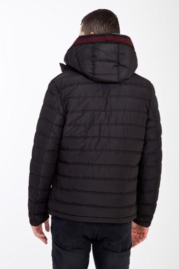 Erkek Siyah Kapüşonlu Bonded Mont | 0K5DZDZ021056 - Kiğılı