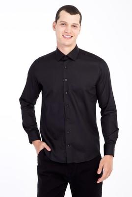 Erkek Giyim - Siyah M Beden Uzun Kol Non Iron Saten Slim Fit Gömlek