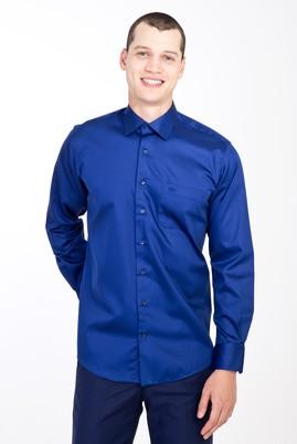 Erkek Giyim - Lacivert XXL Beden Uzun Kol Saten Klasik Gömlek