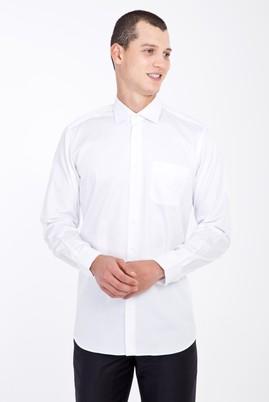 Erkek Giyim - Beyaz L Beden Uzun Kol Saten Klasik Gömlek