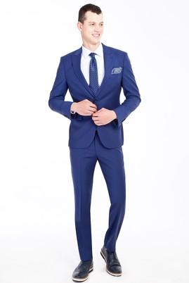 Erkek Giyim - Mavi 46 Beden Slim Fit Yünlü Kuşgözü Takım Elbise