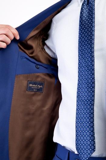 Erkek Giyim - Slim Fit Yünlü Kuşgözü Takım Elbise