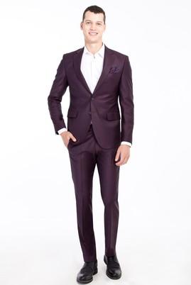 Erkek Giyim - Bordo 46 Beden Slim Fit Yünlü Desenli Takım Elbise