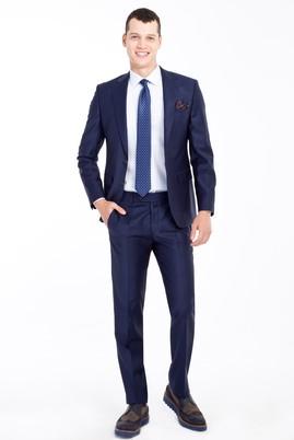 Erkek Giyim - Mavi 56 Beden Slim Fit Yünlü Çizgili Takım Elbise