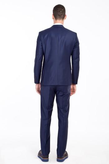 Erkek Giyim - Slim Fit Yünlü Çizgili Takım Elbise