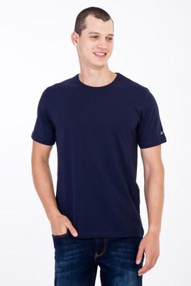 Erkek Giyim - Lacivert 3X Beden Bisiklet Yaka Nakışlı Regular Fit Tişört