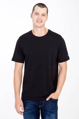 Erkek Giyim - Siyah 3X Beden Bisiklet Yaka Nakışlı Regular Fit Tişört