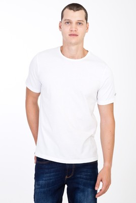 Erkek Giyim - Beyaz S Beden Bisiklet Yaka Nakışlı Regular Fit Tişört