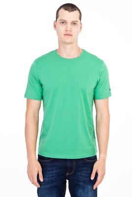 Erkek Giyim - Açık Yeşil XXL Beden Bisiklet Yaka Nakışlı Regular Fit Tişört