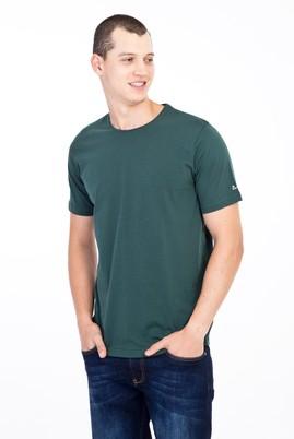 Erkek Giyim - KOYU YESİL L Beden Bisiklet Yaka Nakışlı Regular Fit Tişört