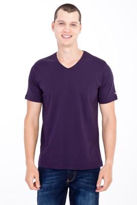Erkek Giyim - Bordo 3X Beden V Yaka Nakışlı Regular Fit Tişört