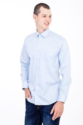 Erkek Giyim - Açık Mavi XL Beden Uzun Kol Non Iron Saten Klasik Gömlek