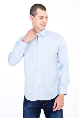Erkek Giyim - Açık Mavi S Beden Uzun Kol Non Iron Slim Fit Saten Gömlek