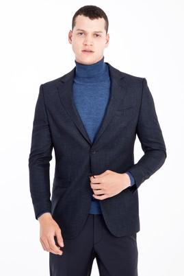 Erkek Giyim - Mavi 48 Beden Yünlü Kuşgözü Ceket