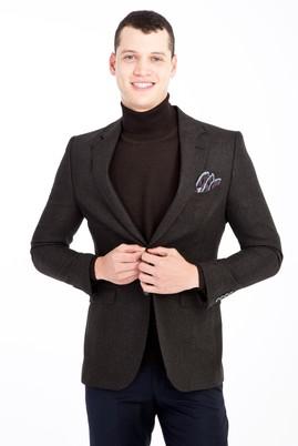 Erkek Giyim - KOYU YESİL 48 Beden Yünlü Kuşgözü Ceket