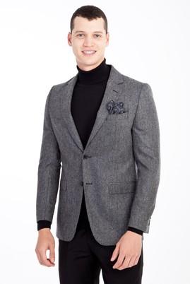 Erkek Giyim - Füme Gri 54 Beden Yünlü Kuşgözü Ceket
