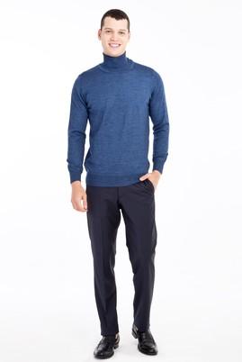 Erkek Giyim - Lacivert 48 Beden Yünlü Ekose Pantolon
