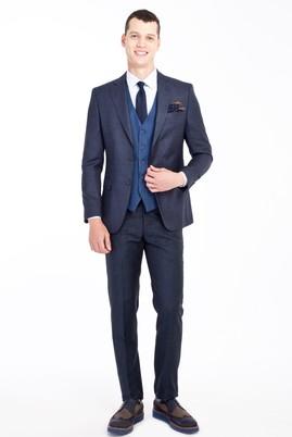 Erkek Giyim - Lacivert 48 Beden Regular Fit Kombinli Yelekli Kareli Takım Elbise