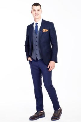 Erkek Giyim - Lacivert 44 Beden Slim Fit Kombinli Yelekli Ekose Takım Elbise