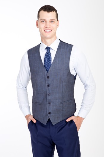 Erkek Giyim - Slim Fit Kombinli Yelekli Ekose Takım Elbise