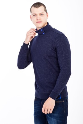 Erkek Giyim - Lacivert M Beden Bato Yaka Slim Fit Sweatshirt