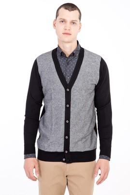 Erkek Giyim - Siyah 3X Beden Yünlü Desenli Hırka