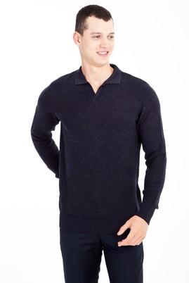 Erkek Giyim - Lacivert XL Beden Polo Yaka Yünlü Desenli Regular Fit Triko Kazak