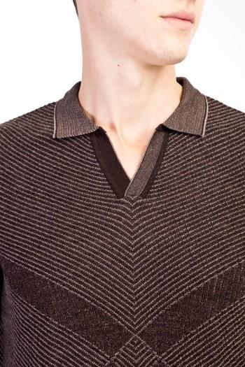 Erkek Giyim - Polo Yaka Yünlü Desenli Regular Fit Triko Kazak