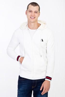 Erkek Giyim - Krem M Beden Kapüşonlu Slim Fit Sweatshirt