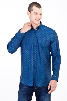 Erkek Giyim - Mavi L Beden Uzun Kol Desenli Gömlek