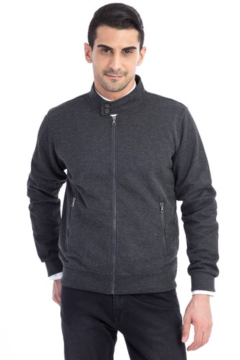Fermuarlı Slim Fit Sweatshirt