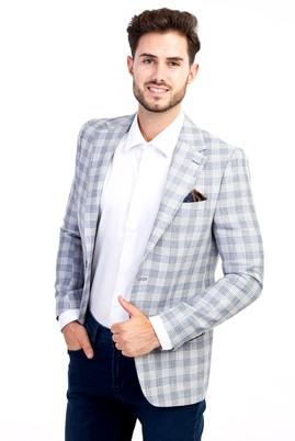 Erkek Giyim - Mavi 50 Beden Ekose Ceket