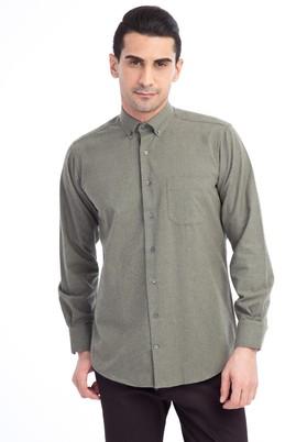 Erkek Giyim - HAKİ L Beden Uzun Kol Oduncu Gömlek