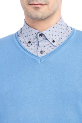 Erkek Giyim - Mavi L Beden V Yaka Regular Fit Triko Kazak