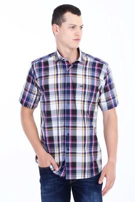 Erkek Giyim - Lacivert L Beden Kısa Kol Ekose Gömlek