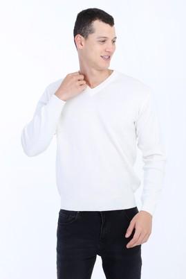 Erkek Giyim - Krem M Beden V Yaka Yünlü Regular Fit Triko Kazak