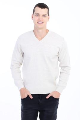 Erkek Giyim - Kum L Beden V Yaka Yünlü Regular Fit Triko Kazak