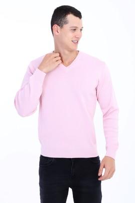 Erkek Giyim - Pembe L Beden V Yaka Yünlü Regular Fit Triko Kazak