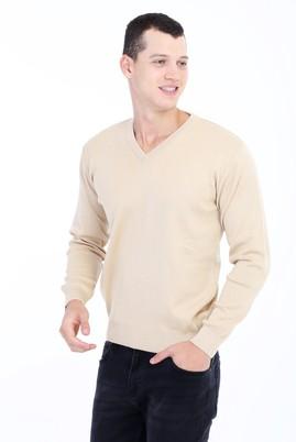 Erkek Giyim - VİZON L Beden V Yaka Yünlü Regular Fit Triko Kazak