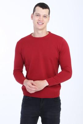 Erkek Giyim - Kırmızı XL Beden Bisiklet Yaka Regular Fit Triko Kazak